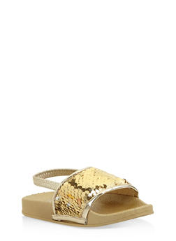 Girls 5-10 Sequin Slingback Slides - 1737065690412