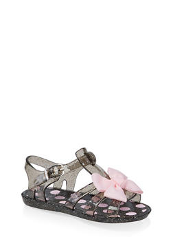 Girls 7-10 Bow Jelly Sandals | Black - 1737065690422