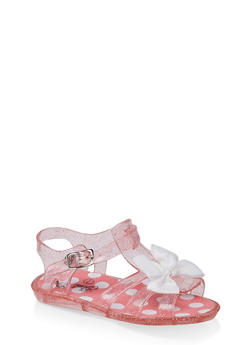 Girls 7-10 Bow Jelly Sandals | Coral - 1737065690423