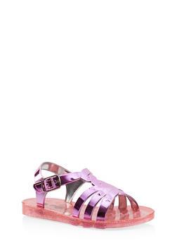 Girls 7-10 Glitter Jelly Sandals - 1737065690426