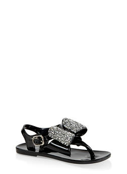 Girls 7-10 Rhinestone Bow Jelly Thong Sandals - 1737065690431