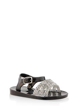 Girls 7-10 Druzy Strap Jelly Sandals | Black - 1737065690432