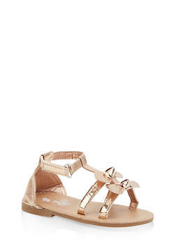 Girls 7-10 Double Bow Sandals | Rose Gold - 1737065690444