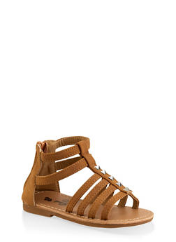 Girls 7-10 Studded Gladiator Sandals | Brown - 1737065690448