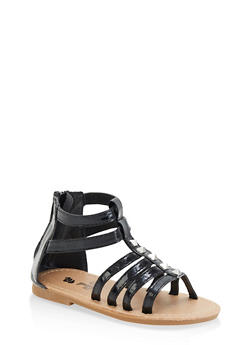 Girls 7-10 Faux Patent Leather Gladiator Sandals | Black - 1737065690451