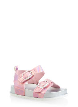 Girls 7-10 Iridescent Footbed Sandals | Pink - 1737065690454