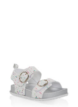 Girls 7-10 Paint Splatter Footbed Sandals | White - 1737065690457