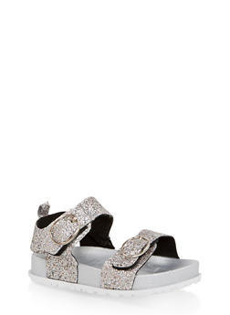 Girls 7-10 Glitter Footbed Sandals | Silver - 1737065690459