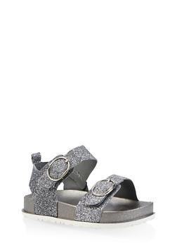 Girls 7-10 Glitter Footbed Sandals | 1737065690461 - 1737065690461