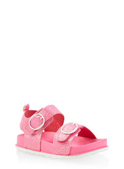 Girls 7-10 Glitter Footbed Sandals | Pink - 1737065690462