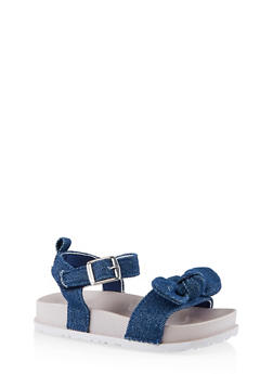 Girls 7-10 Chambray Bow Footbed Sandals - 1737065690464