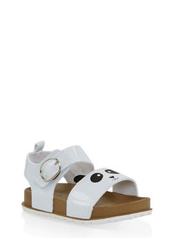Girls 7-10 Panda Footbed Sandals | White - 1737065690465
