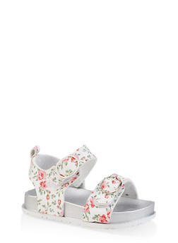 Girls 7-10 Floral Footbed Sandals - 1737065690470