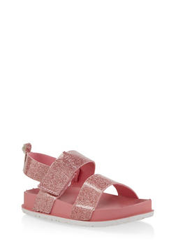 Girls 7-10 Two Band Glitter Footbed Sandals | Pink - 1737065690471