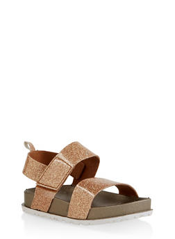 Girls 7-10 Two Band Glitter Footbed Sandals | Bronze - 1737065690473