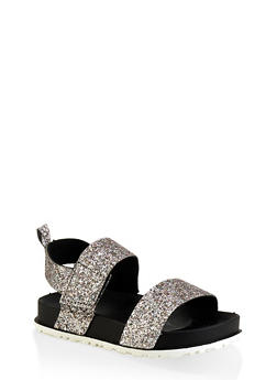 Girls 7-10 Double Band Glitter Footbed Sandals - 1737065690475