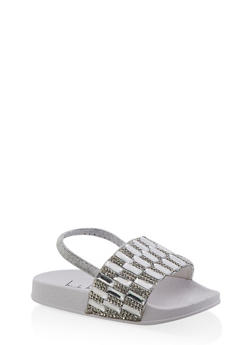 Girls 5-10 Rhinestone Studded Slingback Slides | White - 1737065690570