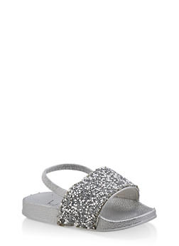 Girls 5-10 Druzy Slingback Pool Slides | Silver - 1737065690572