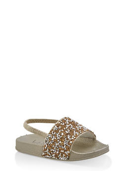 Girls 5-10 Druzy Slingback Pool Slides | Gold - 1737065690573
