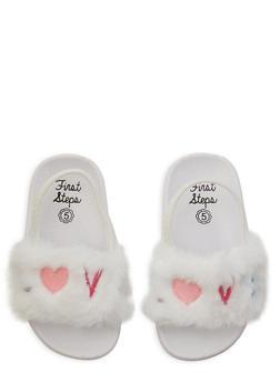 Girls 5-10 Love Faux Fur Slingback Slides | White - 1737065690581