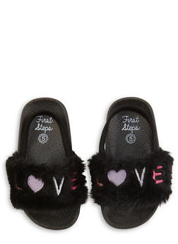 Girls 5-10 Love Faux Fur Slingback Slides | Black - 1737065690582