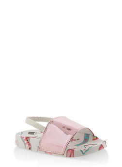 Girls 5-10 Iridescent Band Graphic Slingback Slides - 1737065690584