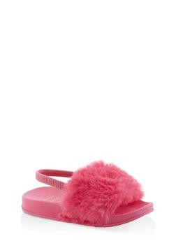 Girls 5-10 Faux Fur Slingback Slides | Fuchsia - 1737065690590