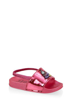 Girls 5-10 Sequin Emoji Slingback Slides - 1737065690592