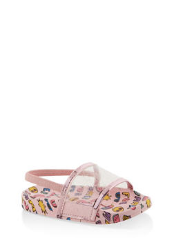 Girls 5-10 Clear Glitter Band Slingback Pool Slides - 1737065690596