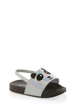 Girls 5-10 Holographic Panda Slingback Slides - 1737065690598