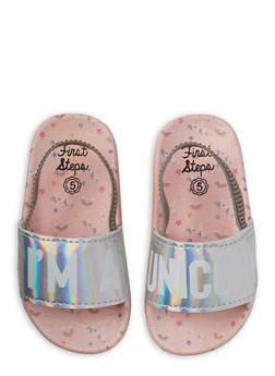 Girls 5-10 Holographic Unicorn Slingback Slides - 1737065690602