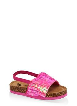 Girls 7-10 Pink Sequin Slingback Footbed Sandals - 1737065690649