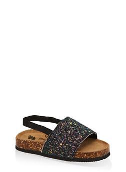 Girls 7-10 Glitter Slingback Footbed Sandals - 1737065690657