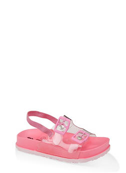 Girls 7-10 Clear Strap Footbed Sandals - 1737065690801