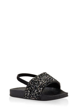 Girls 5-10 Rhinestone Encrusted Slingback Slides - 1737065693602