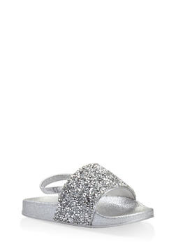Girls 5-10 Rhinestone Encrusted Slingback Slides - 1737065693603