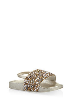 Girls 5-10 Rhinestone Encrusted Slingback Slides - 1737065693604