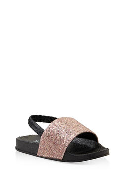 Girls 5-10 Glitter Slingback Slides - 1737065693608