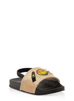 Girls 5-10 Emoji Embroidered Slingback Slides - 1737065693614
