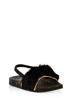 Girls 5-10 Faux Fur Slingback Slides - 1737065693637