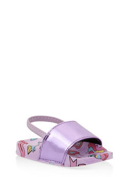 Girls 5-10 Printed Slingback Slides - 1737065693643