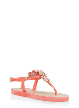 Girls 10-4 Floral Detail Thong Sandals - 1737068060146