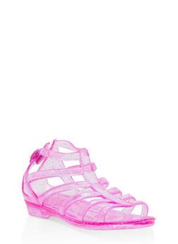 Girls 5M-12 Glitter Jelly Gladiator Sandals - 1737068060223