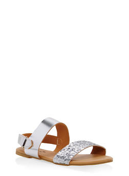 Girls 10-4 Glitter Strap Sandals - 1737068060230