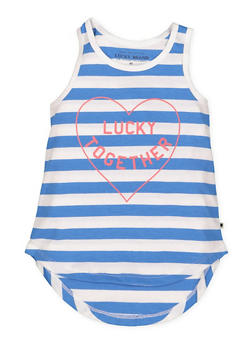 Girls 4-6x Lucky Brand Striped Graphic Tank Top - 1764074550049