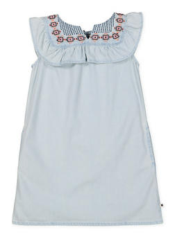 Girls 4-6x Embroidered Denim Shift Dress - 1768074550009