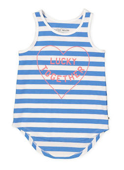 Girls 7-16 Lucky Brand Striped Graphic Tank Top - 1773074550033