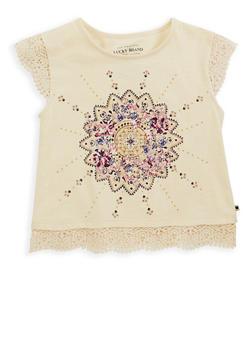 Girls 7-16 Lucky Brand Graphic Crochet Trim Top - 1773074550043