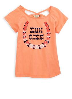 Girls 7-16 Lucky Brand Graphic Cut Out T Shirt - 1773074550044