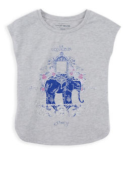 Girls 7-16 Lucky Brand Elephant Graphic Print Top - 1773074550047